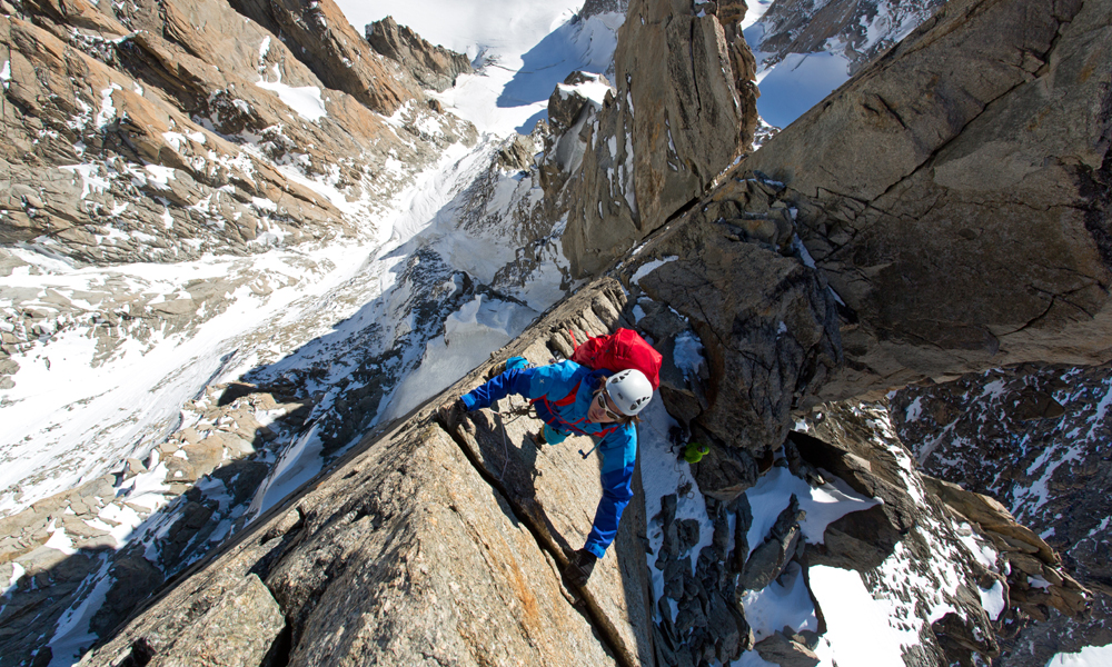 Ben Briggs on the first exposed gendarme on the Diables arete